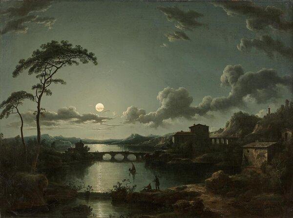 Paysage lacustre au clair de lune