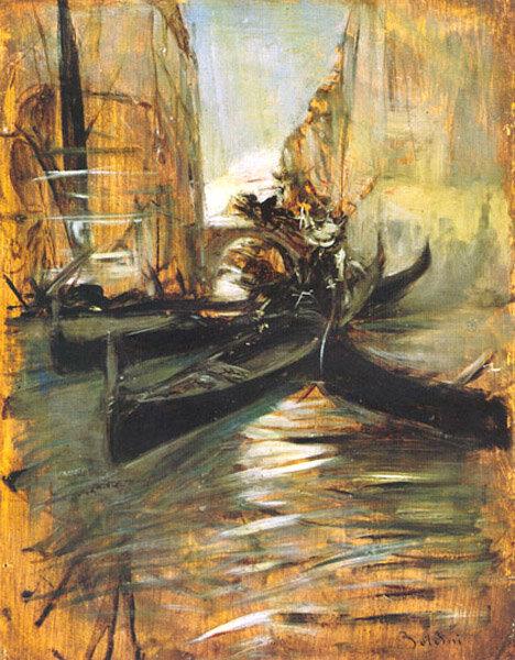 Canal à Venise et gondole