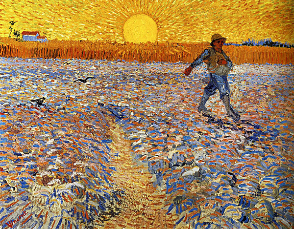 Le semeur au soleil couchant