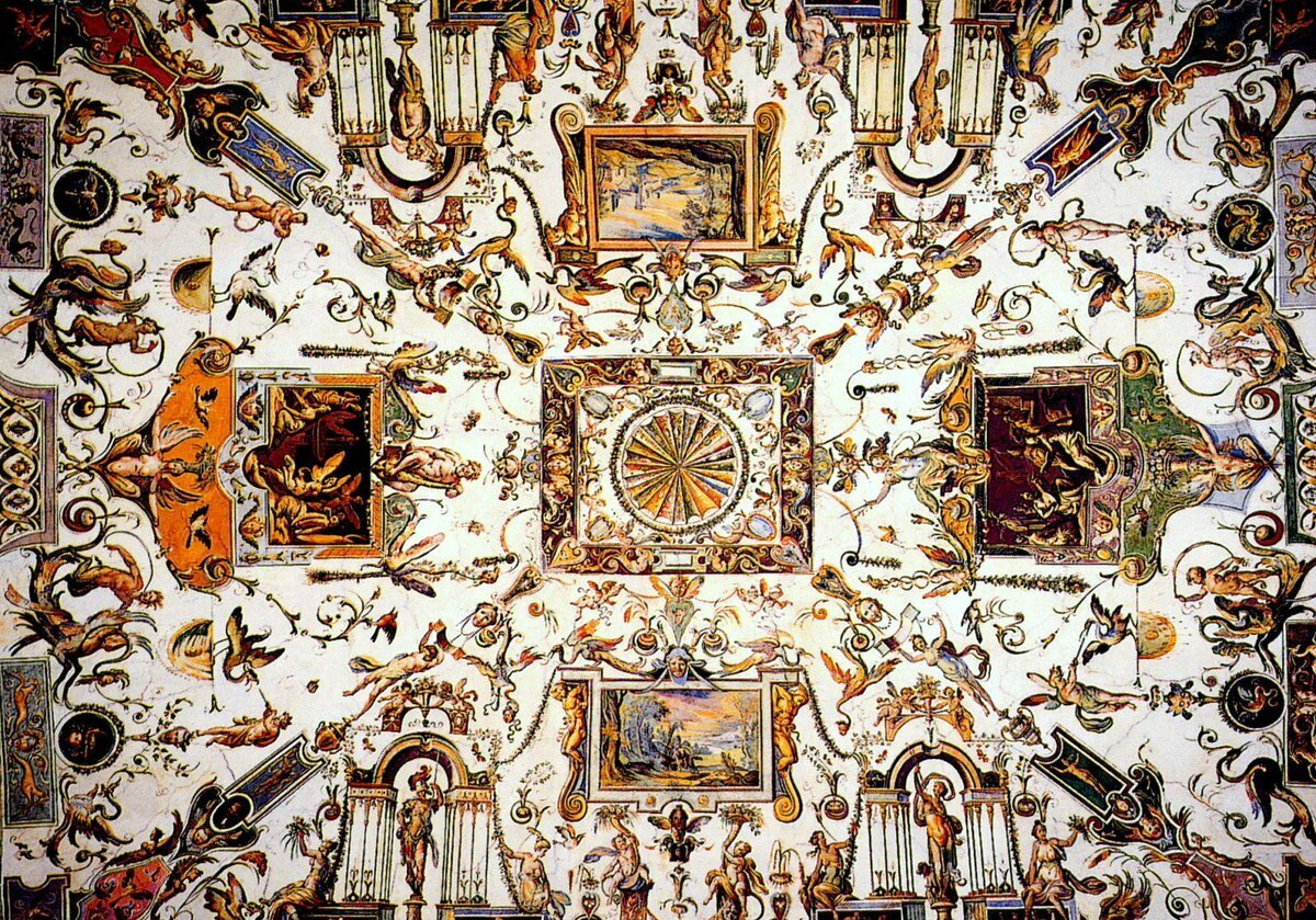 Florence, Galerie des Offices - Plafond du 1er corridor